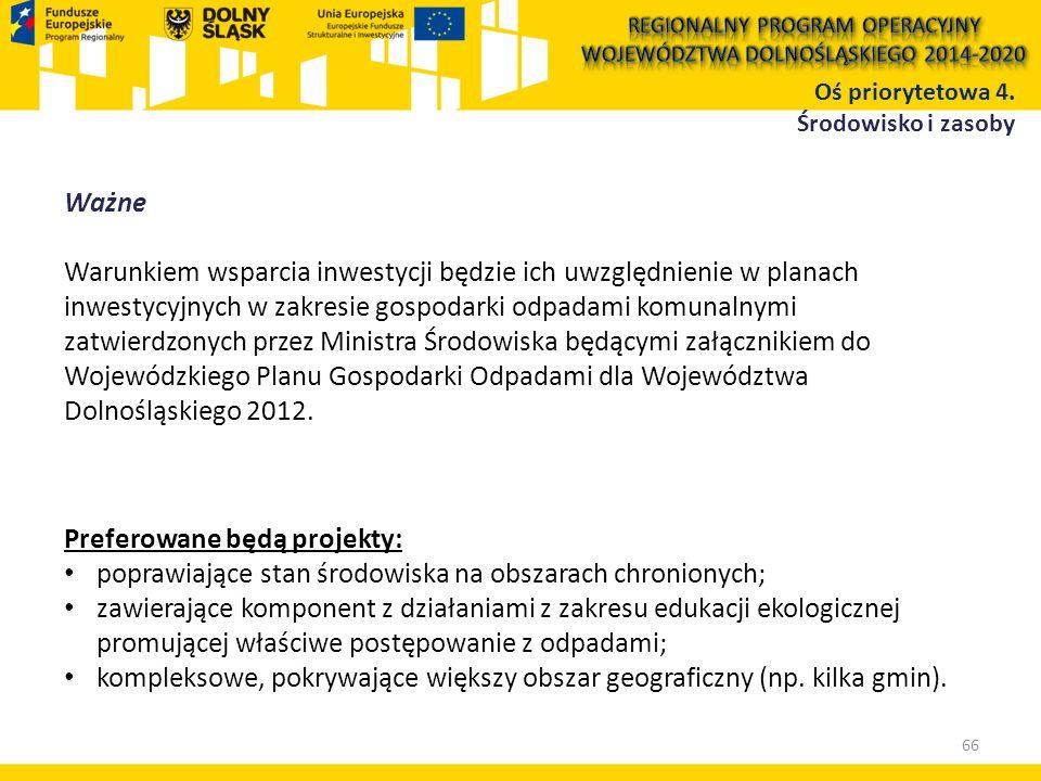 Ważne Warunkiem wsparcia inwestycji będzie ich uwzględnienie w planach inwestycyjnych w zakresie gospodarki odpadami komunalnymi zatwierdzonych przez Ministra Środowiska będącymi załącznikiem do Wojewódzkiego Planu Gospodarki Odpadami dla Województwa Dolnośląskiego 2012.