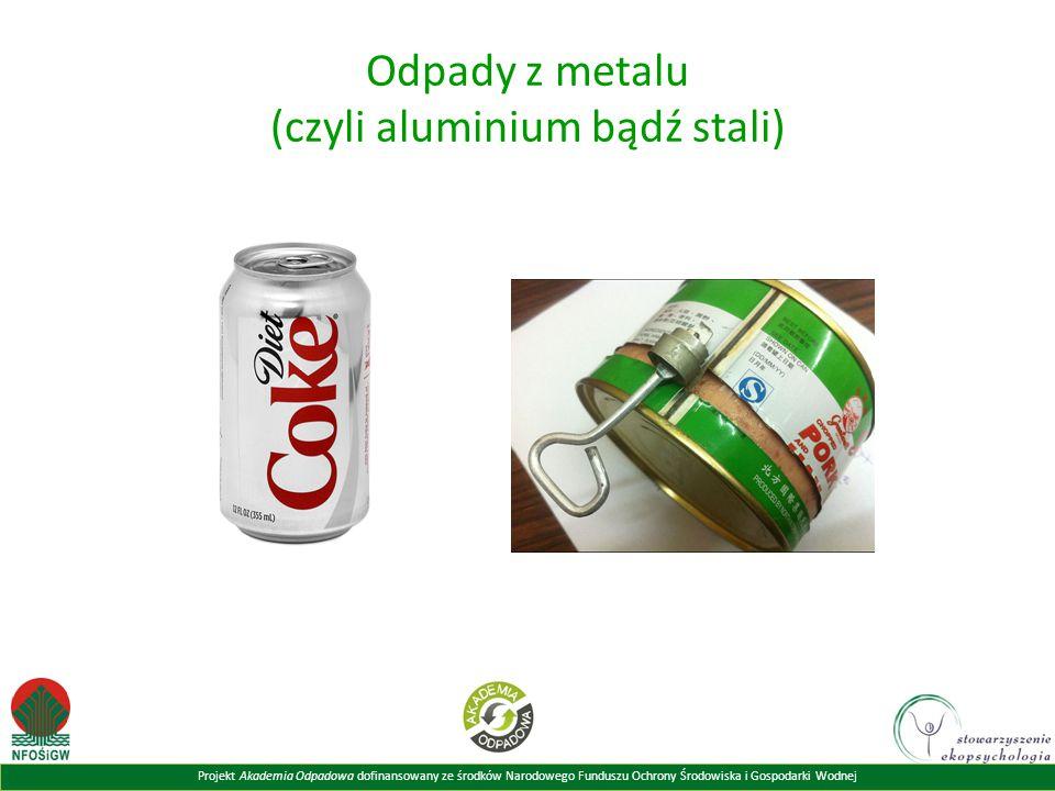 Projekt Akademia Odpadowa dofinansowany ze środków Narodowego Funduszu Ochrony Środowiska i Gospodarki Wodnej Odpady z metalu (czyli aluminium bądź st