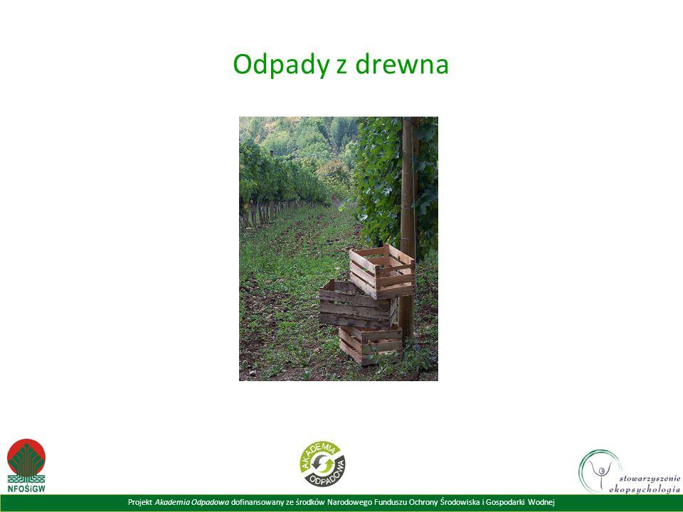 Projekt Akademia Odpadowa dofinansowany ze środków Narodowego Funduszu Ochrony Środowiska i Gospodarki Wodnej Odpady z drewna