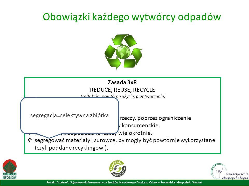 Projekt Akademia Odpadowa dofinansowany ze środków Narodowego Funduszu Ochrony Środowiska i Gospodarki Wodnej Obowiązki każdego wytwórcy odpadów Zasada 3xR REDUCE, REUSE, RECYCLE (redukcja, powtórne użycie, przetwarzanie) według której powinniśmy:  minimalizować ilość kupowanych rzeczy, poprzez ograniczenie konsumpcji lub świadome wybory konsumenckie,  wykorzystywać posiadane rzeczy wielokrotnie,  segregować materiały i surowce, by mogły być powtórnie wykorzystane (czyli poddane recyklingowi).