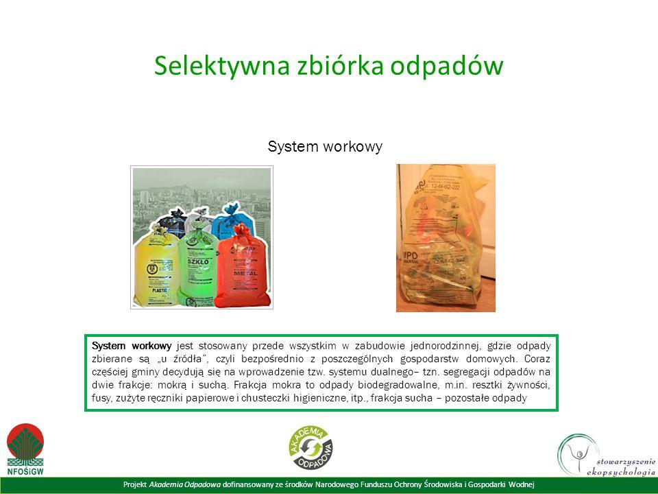Projekt Akademia Odpadowa dofinansowany ze środków Narodowego Funduszu Ochrony Środowiska i Gospodarki Wodnej Selektywna zbiórka odpadów System workow