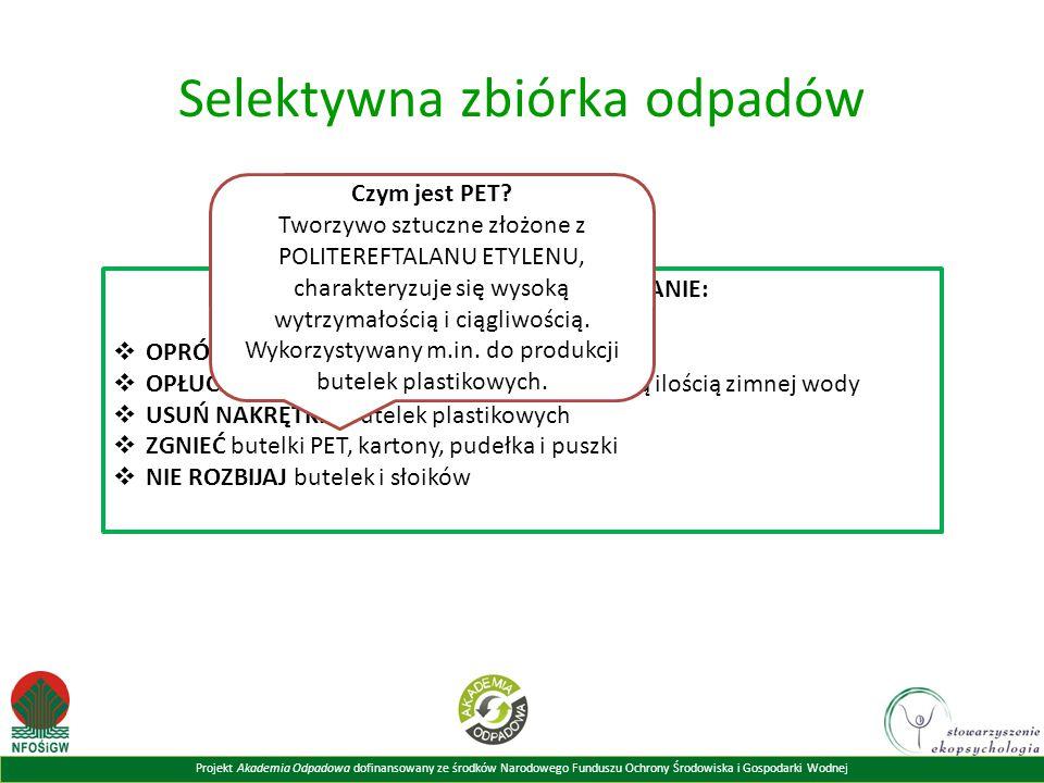 Projekt Akademia Odpadowa dofinansowany ze środków Narodowego Funduszu Ochrony Środowiska i Gospodarki Wodnej Selektywna zbiórka odpadów ZANIM WYRZUCI