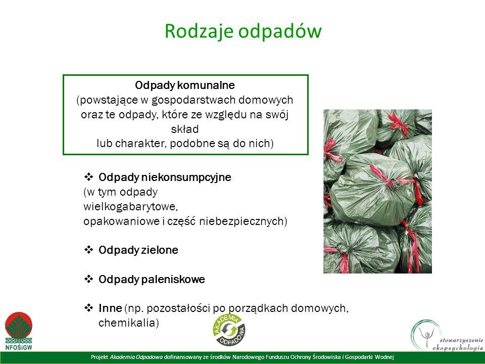 Projekt Akademia Odpadowa dofinansowany ze środków Narodowego Funduszu Ochrony Środowiska i Gospodarki Wodnej Rodzaje odpadów Odpady komunalne (powsta