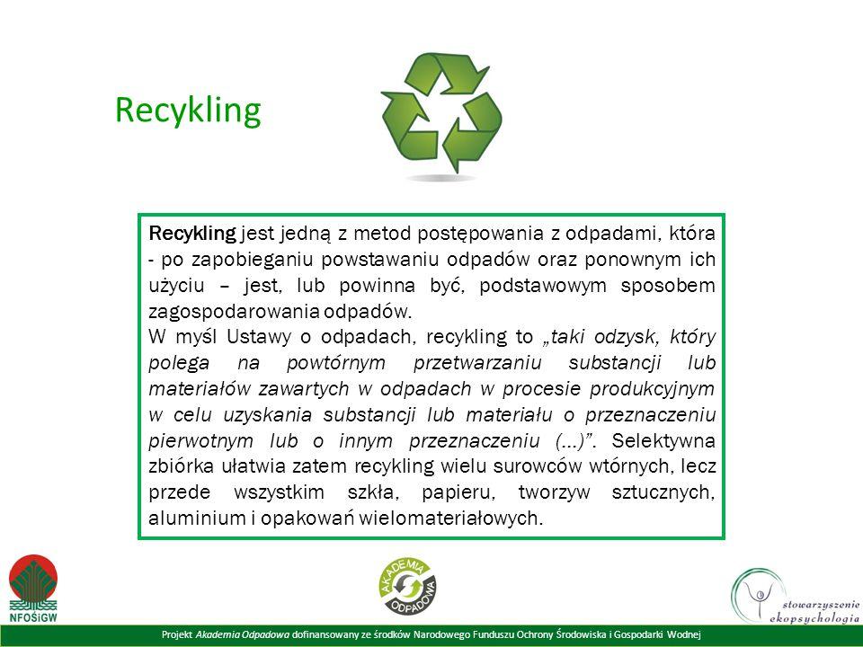 Projekt Akademia Odpadowa dofinansowany ze środków Narodowego Funduszu Ochrony Środowiska i Gospodarki Wodnej Recykling Recykling jest jedną z metod p