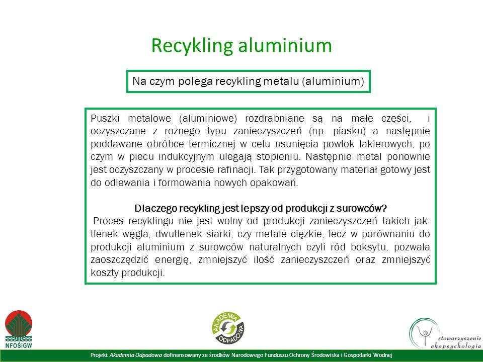 Projekt Akademia Odpadowa dofinansowany ze środków Narodowego Funduszu Ochrony Środowiska i Gospodarki Wodnej Recykling aluminium Na czym polega recykling metalu (aluminium) Puszki metalowe (aluminiowe) rozdrabniane są na małe części, i oczyszczane z rożnego typu zanieczyszczeń (np.
