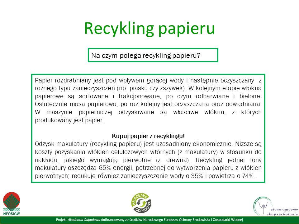 Projekt Akademia Odpadowa dofinansowany ze środków Narodowego Funduszu Ochrony Środowiska i Gospodarki Wodnej Recykling papieru Na czym polega recykling papieru.