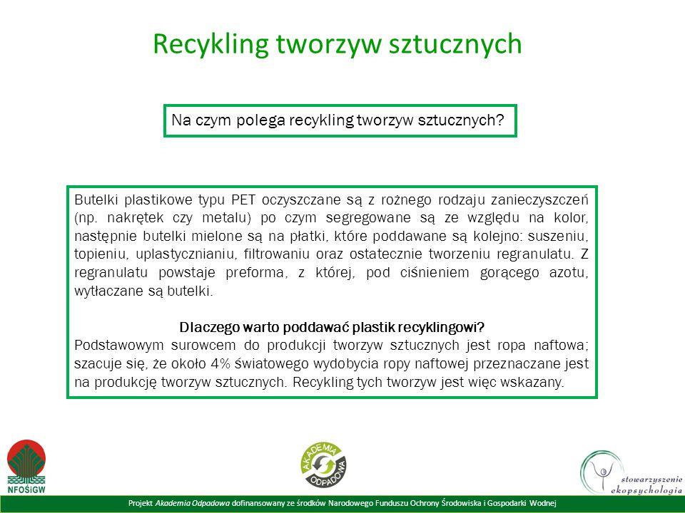 Projekt Akademia Odpadowa dofinansowany ze środków Narodowego Funduszu Ochrony Środowiska i Gospodarki Wodnej Recykling tworzyw sztucznych Na czym polega recykling tworzyw sztucznych.