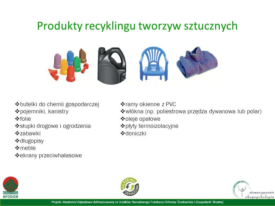 Projekt Akademia Odpadowa dofinansowany ze środków Narodowego Funduszu Ochrony Środowiska i Gospodarki Wodnej Produkty recyklingu tworzyw sztucznych 
