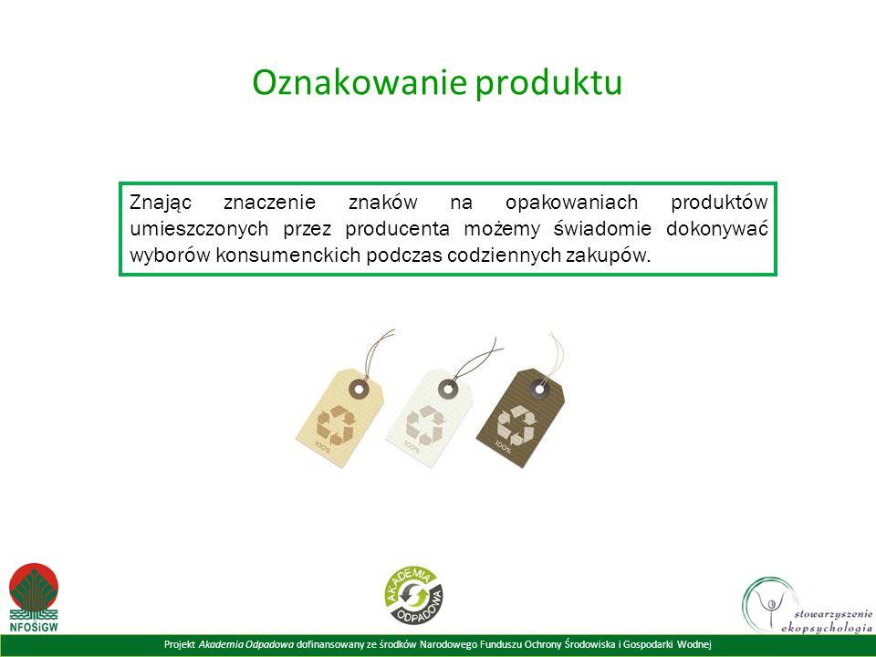 Projekt Akademia Odpadowa dofinansowany ze środków Narodowego Funduszu Ochrony Środowiska i Gospodarki Wodnej Oznakowanie produktu Znając znaczenie znaków na opakowaniach produktów umieszczonych przez producenta możemy świadomie dokonywać wyborów konsumenckich podczas codziennych zakupów.