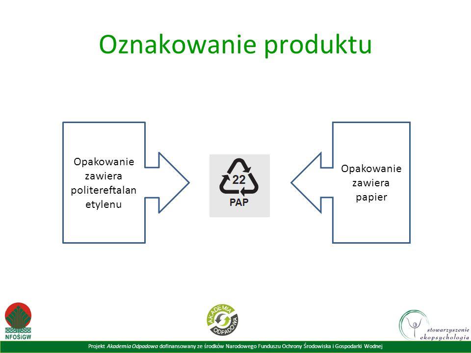 Projekt Akademia Odpadowa dofinansowany ze środków Narodowego Funduszu Ochrony Środowiska i Gospodarki Wodnej Oznakowanie produktu Opakowanie zawiera politereftalan etylenu Opakowanie zawiera papier