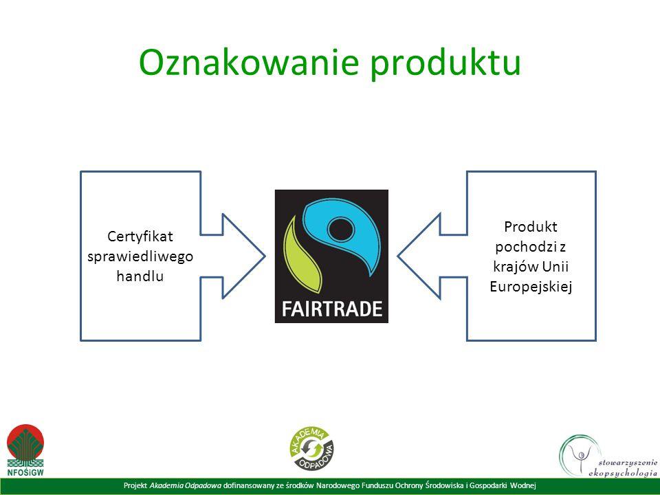 Projekt Akademia Odpadowa dofinansowany ze środków Narodowego Funduszu Ochrony Środowiska i Gospodarki Wodnej Oznakowanie produktu Certyfikat sprawied