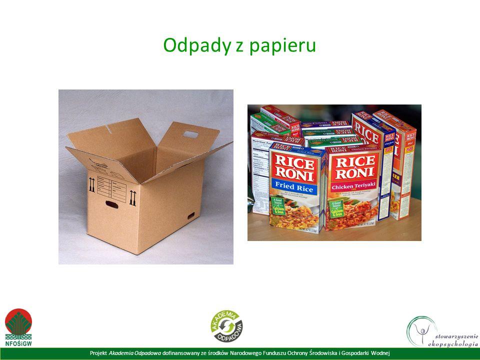Projekt Akademia Odpadowa dofinansowany ze środków Narodowego Funduszu Ochrony Środowiska i Gospodarki Wodnej Odpady z papieru