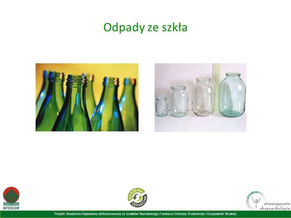 Projekt Akademia Odpadowa dofinansowany ze środków Narodowego Funduszu Ochrony Środowiska i Gospodarki Wodnej Odpady ze szkła