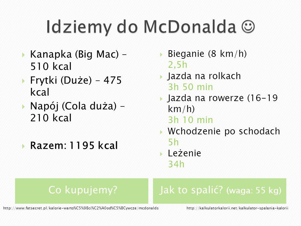 Co kupujemy?Jak to spalić? (waga: 55 kg)  Kanapka (Big Mac) – 510 kcal  Frytki (Duże) – 475 kcal  Napój (Cola duża) – 210 kcal  Razem: 1195 kcal 