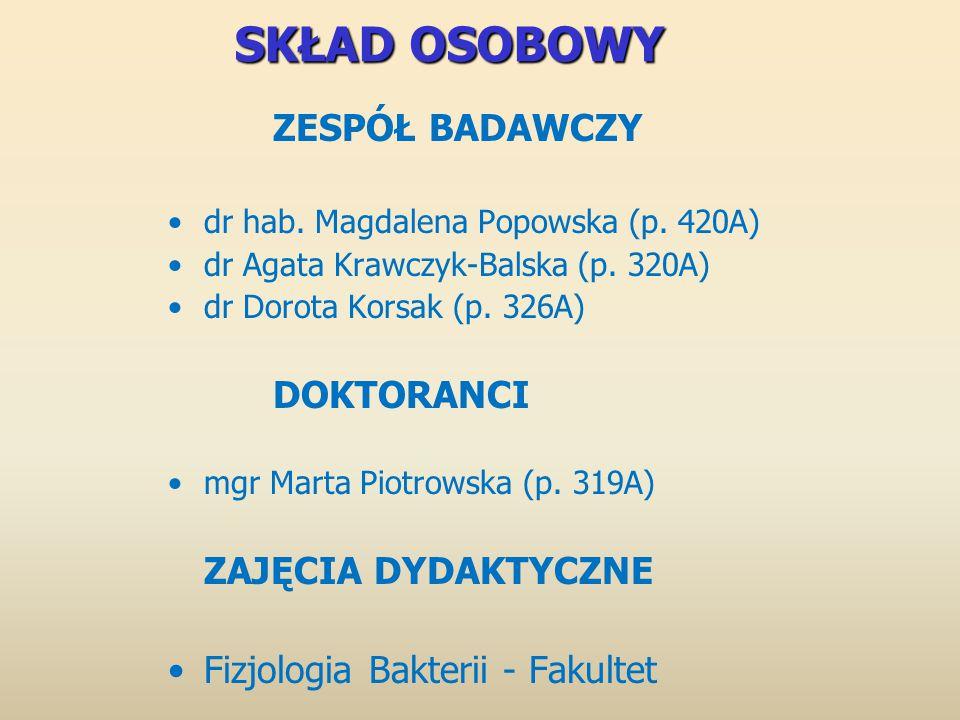 SKŁAD OSOBOWY ZESPÓŁ BADAWCZY dr hab. Magdalena Popowska (p. 420A) dr Agata Krawczyk-Balska (p. 320A) dr Dorota Korsak (p. 326A) DOKTORANCI mgr Marta