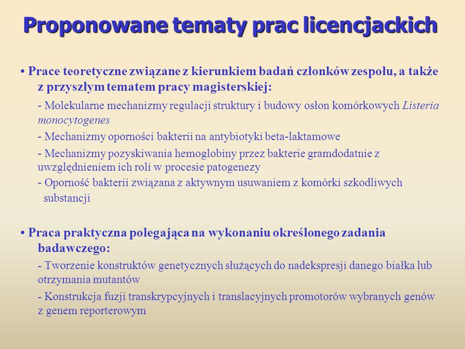 Proponowane tematy prac licencjackich Proponowane tematy prac licencjackich Prace teoretyczne związane z kierunkiem badań członków zespołu, a także z