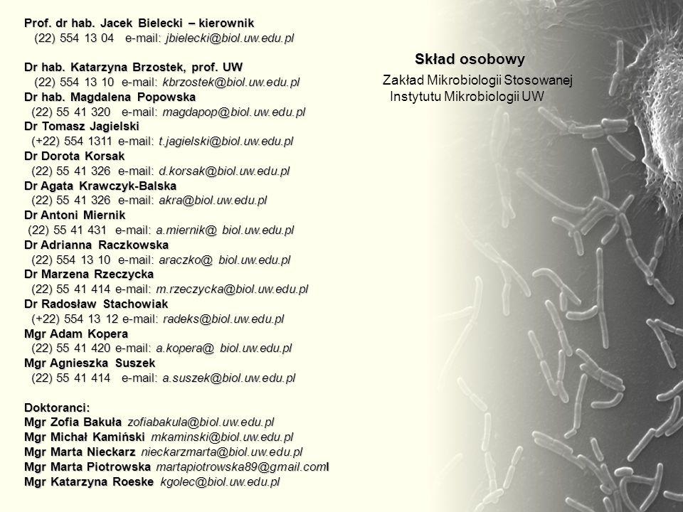 Prof. dr hab. Jacek Bielecki – kierownik (22) 554 13 04 e-mail: jbielecki@biol.uw.edu.pl Dr hab. Katarzyna Brzostek, prof. UW (22) 554 13 10 e-mail: k