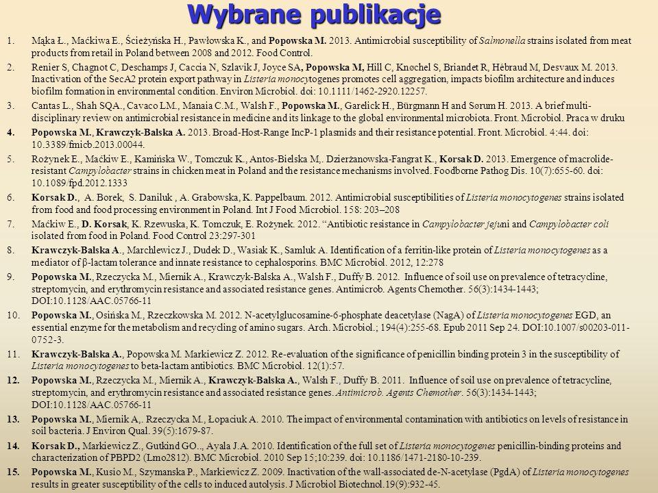 Wybrane publikacje 1.Mąka Ł., Maćkiwa E., Ścieżyńska H., Pawłowska K., and Popowska M. 2013. Antimicrobial susceptibility of Salmonella strains isolat