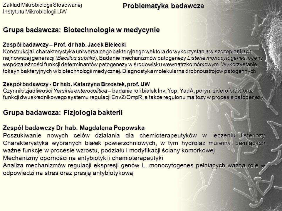 Grupa badawcza: Biotechnologia w medycynie Zespół badawczy – Prof. dr hab. Jacek Bielecki Konstrukcja i charakterystyka uniwersalnego bakteryjnego wek