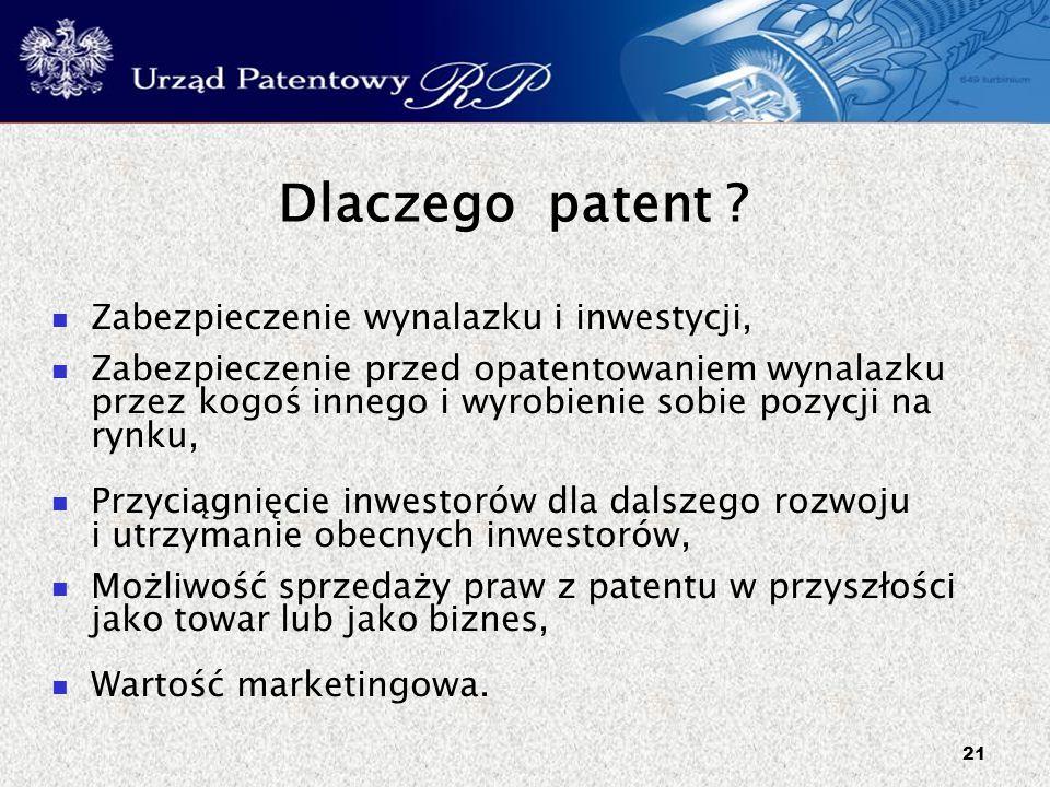 21 Dlaczego patent ? Zabezpieczenie wynalazku i inwestycji, Zabezpieczenie przed opatentowaniem wynalazku przez kogoś innego i wyrobienie sobie pozycj