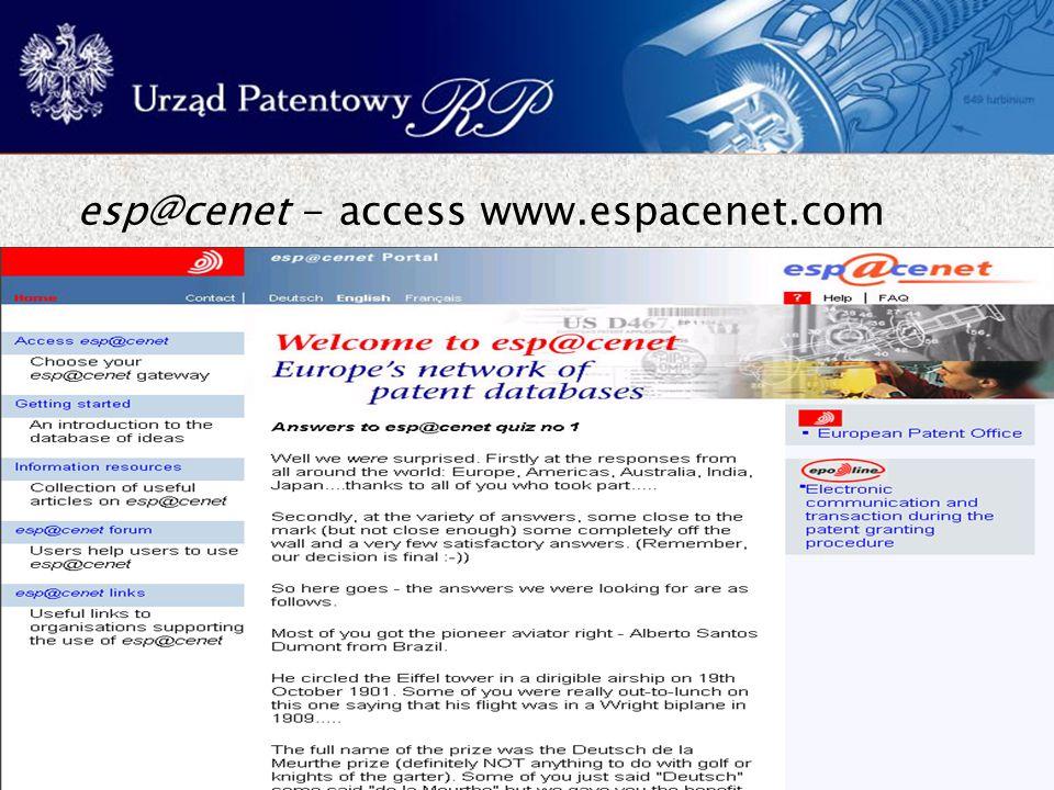 34 esp@cenet - access www.espacenet.com