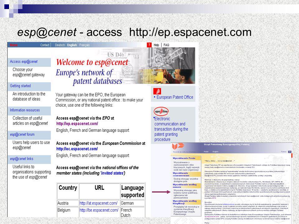 35 esp@cenet - access http://ep.espacenet.com