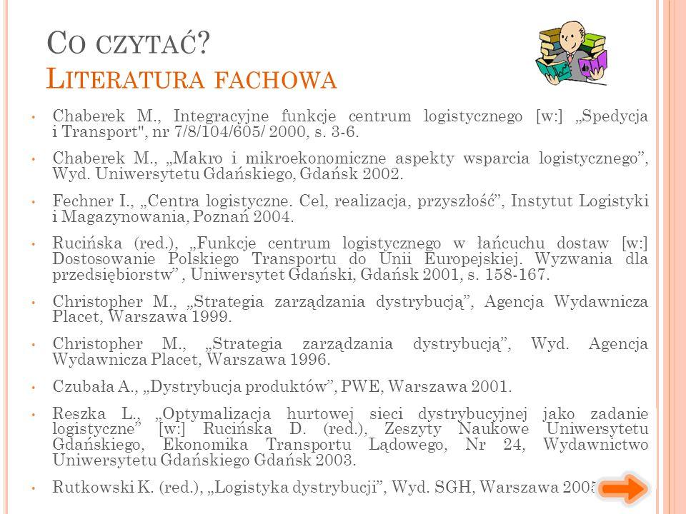 """Chaberek M., Integracyjne funkcje centrum logistycznego [w:] """"Spedycja i Transport , nr 7/8/104/605/ 2000, s."""