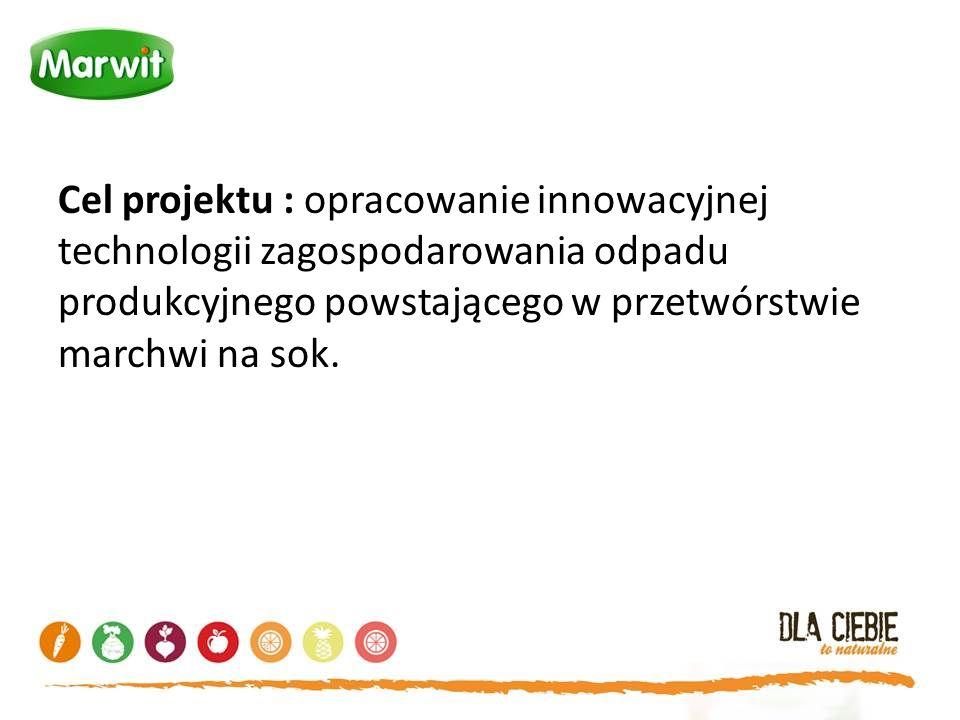Cel projektu : opracowanie innowacyjnej technologii zagospodarowania odpadu produkcyjnego powstającego w przetwórstwie marchwi na sok.