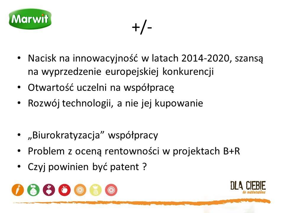 +/- Nacisk na innowacyjność w latach 2014-2020, szansą na wyprzedzenie europejskiej konkurencji Otwartość uczelni na współpracę Rozwój technologii, a