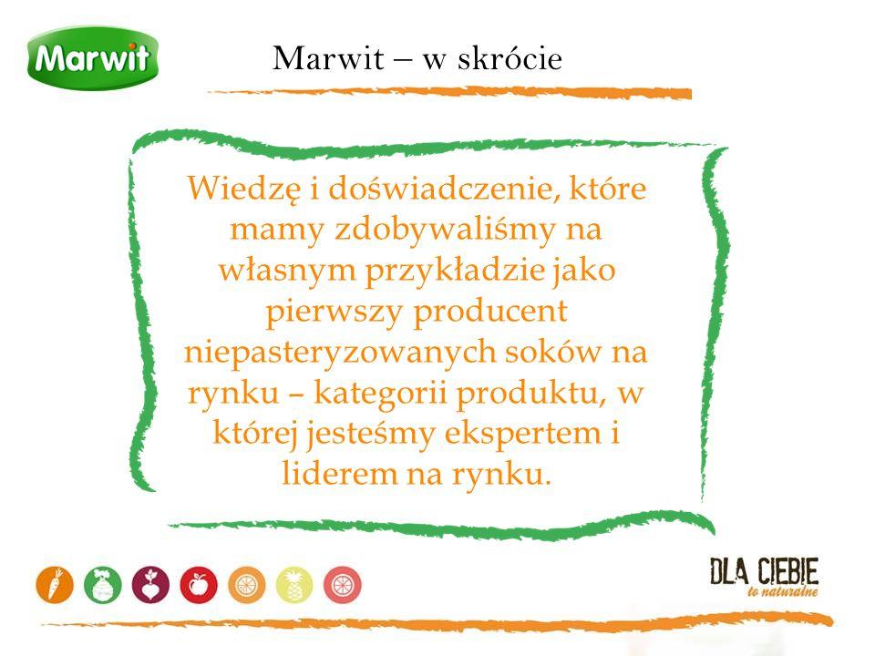 Marwit – w skrócie Wiedzę i doświadczenie, które mamy zdobywaliśmy na własnym przykładzie jako pierwszy producent niepasteryzowanych soków na rynku –