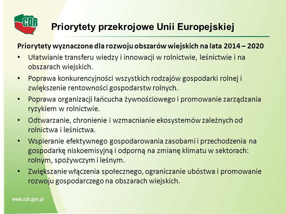 Priorytety przekrojowe Unii Europejskiej Priorytety wyznaczone dla rozwoju obszarów wiejskich na lata 2014 – 2020 Ułatwianie transferu wiedzy i innowacji w rolnictwie, leśnictwie i na obszarach wiejskich.