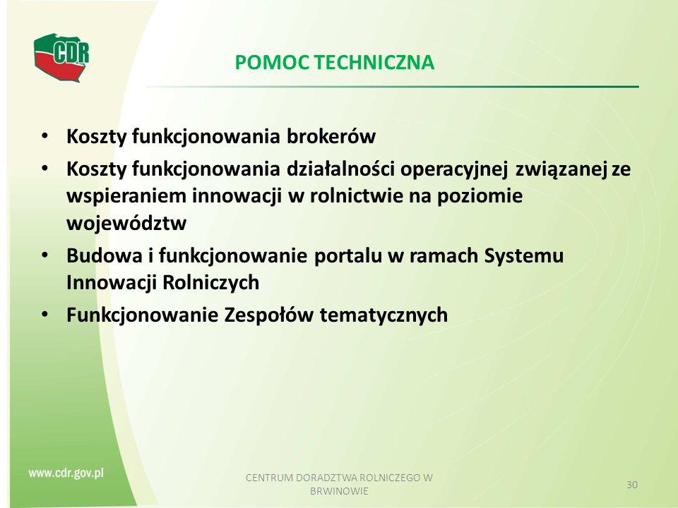 POMOC TECHNICZNA Koszty funkcjonowania brokerów Koszty funkcjonowania działalności operacyjnej związanej ze wspieraniem innowacji w rolnictwie na poziomie województw Budowa i funkcjonowanie portalu w ramach Systemu Innowacji Rolniczych Funkcjonowanie Zespołów tematycznych CENTRUM DORADZTWA ROLNICZEGO W BRWINOWIE 30