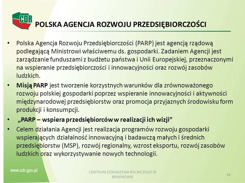 POLSKA AGENCJA ROZWOJU PRZEDSIĘBIORCZOŚCI Polska Agencja Rozwoju Przedsiębiorczości (PARP) jest agencją rządową podlegającą Ministrowi właściwemu ds.
