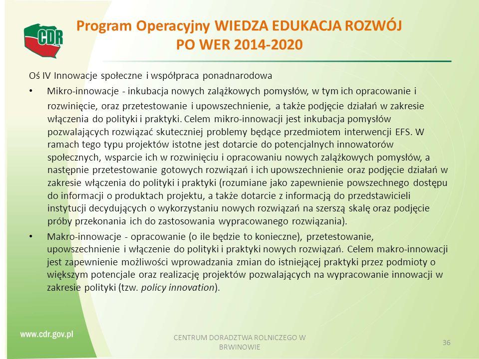 Program Operacyjny WIEDZA EDUKACJA ROZWÓJ PO WER 2014-2020 Oś IV Innowacje społeczne i współpraca ponadnarodowa Mikro-innowacje - inkubacja nowych zalążkowych pomysłów, w tym ich opracowanie i rozwinięcie, oraz przetestowanie i upowszechnienie, a także podjęcie działań w zakresie włączenia do polityki i praktyki.