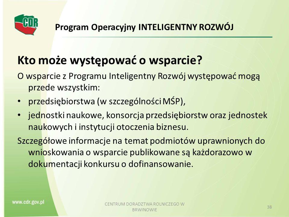 Program Operacyjny INTELIGENTNY ROZWÓJ Kto może występować o wsparcie.