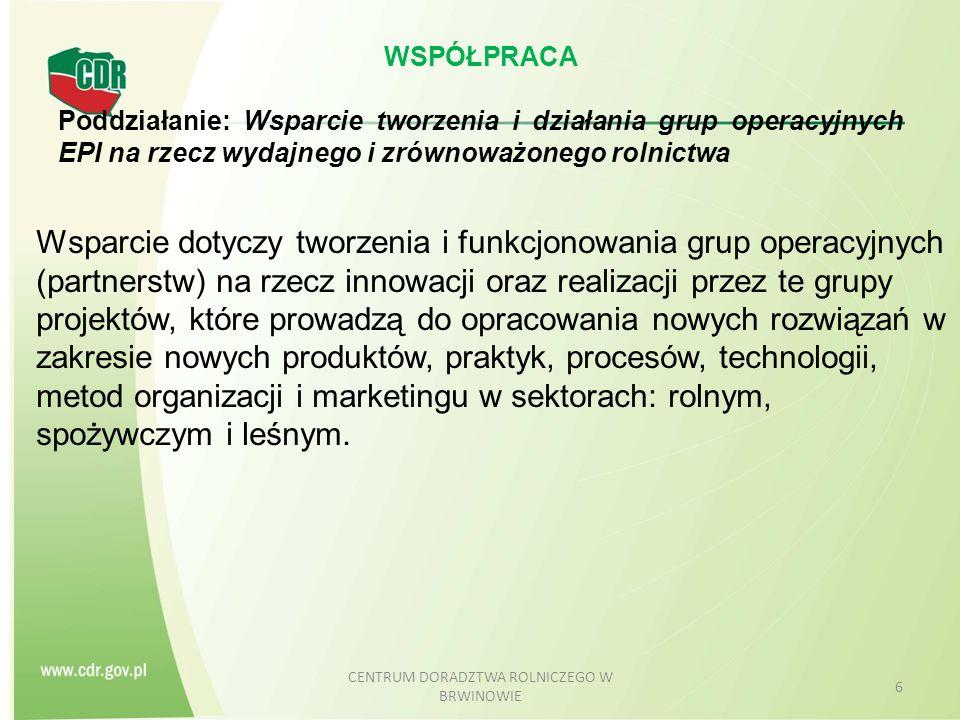 WSPÓŁPRACA Poddziałanie: Wsparcie tworzenia i działania grup operacyjnych EPI na rzecz wydajnego i zrównoważonego rolnictwa Wsparcie dotyczy tworzenia i funkcjonowania grup operacyjnych (partnerstw) na rzecz innowacji oraz realizacji przez te grupy projektów, które prowadzą do opracowania nowych rozwiązań w zakresie nowych produktów, praktyk, procesów, technologii, metod organizacji i marketingu w sektorach: rolnym, spożywczym i leśnym.