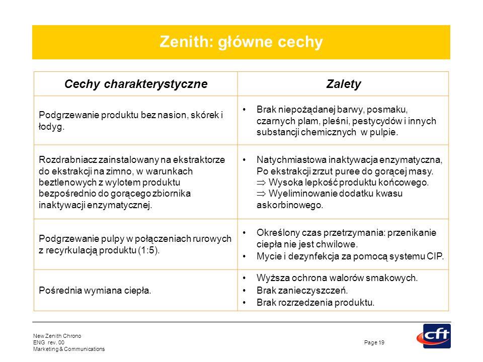 New Zenith Chrono ENG rev. 00 Marketing & Communications Page 19 Zenith: główne cechy Cechy charakterystyczneZalety Podgrzewanie produktu bez nasion,
