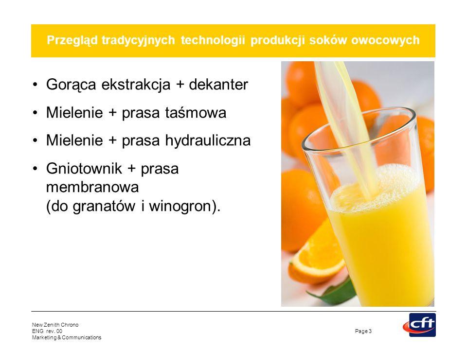 New Zenith Chrono ENG rev. 00 Marketing & Communications Page 3 Przegląd tradycyjnych technologii produkcji soków owocowych Gorąca ekstrakcja + dekant