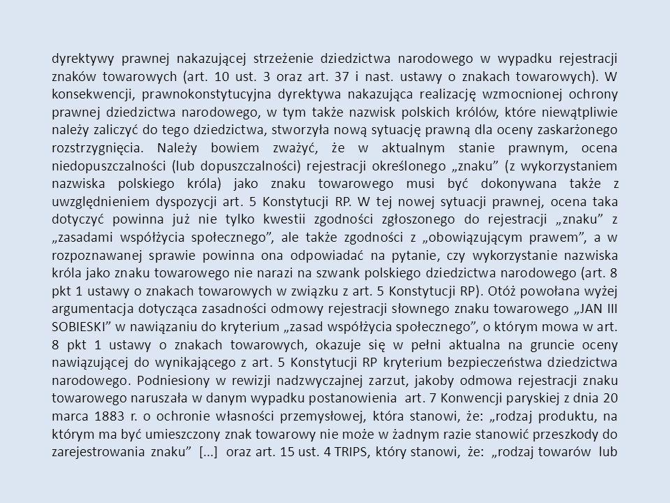 dyrektywy prawnej nakazującej strzeżenie dziedzictwa narodowego w wypadku rejestracji znaków towarowych (art.