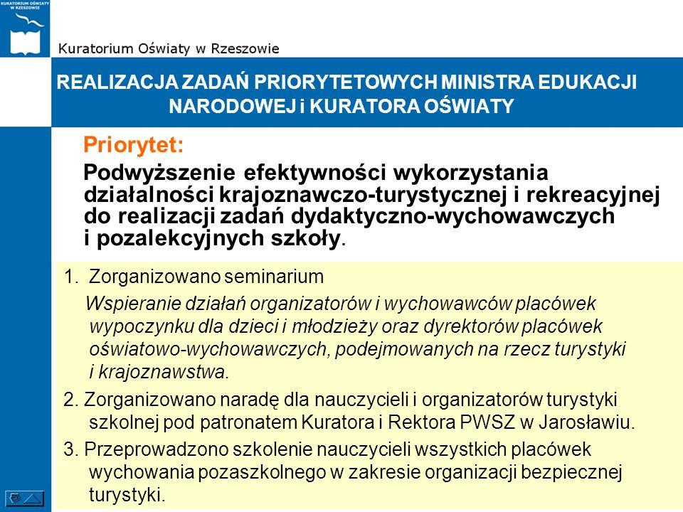 REALIZACJA ZADAŃ PRIORYTETOWYCH MINISTRA EDUKACJI NARODOWEJ i KURATORA OŚWIATY Priorytet: Podwyższenie efektywności wykorzystania działalności krajozn