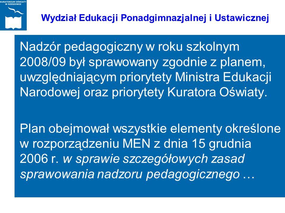 Nadzór pedagogiczny w roku szkolnym 2008/09 był sprawowany zgodnie z planem, uwzględniającym priorytety Ministra Edukacji Narodowej oraz priorytety Ku