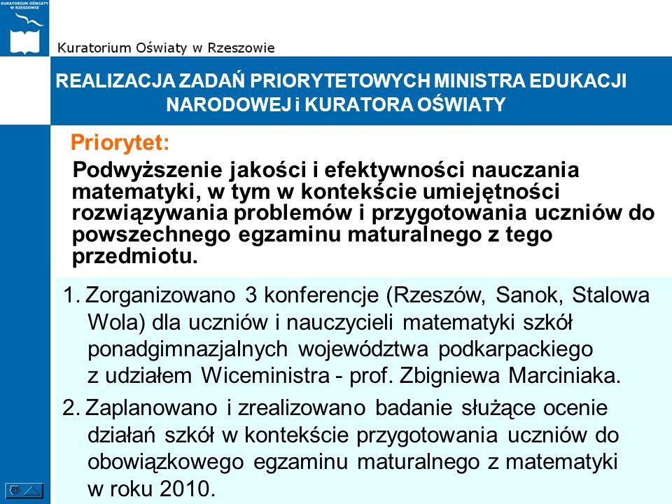 REALIZACJA ZADAŃ PRIORYTETOWYCH MINISTRA EDUKACJI NARODOWEJ i KURATORA OŚWIATY Priorytet: Podwyższenie jakości i efektywności nauczania matematyki, w