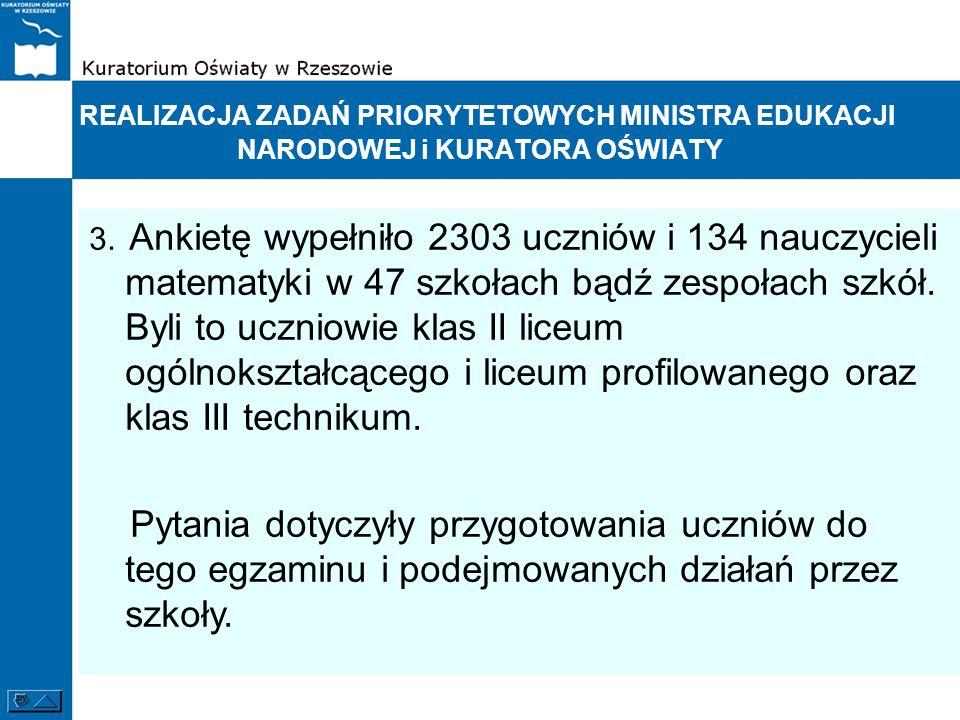 REALIZACJA ZADAŃ PRIORYTETOWYCH MINISTRA EDUKACJI NARODOWEJ i KURATORA OŚWIATY 3. Ankietę wypełniło 2303 uczniów i 134 nauczycieli matematyki w 47 szk