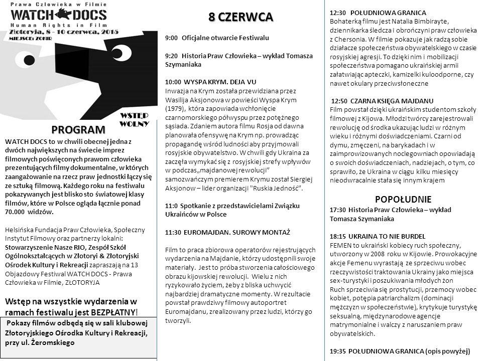 PROGRAM WATCH DOCS to w chwili obecnej jedna z dwóch największych na świecie imprez filmowych poświęconych prawom człowieka prezentujących filmy dokumentalne, w których zaangażowanie na rzecz praw jednostki łączy się ze sztuką filmową.