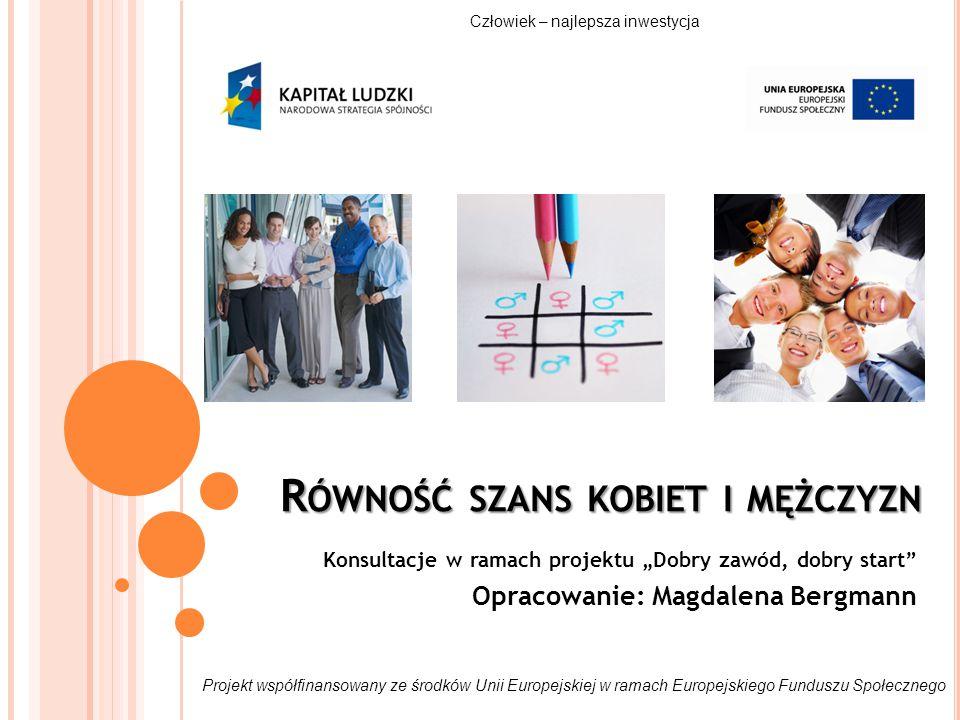 DZIAŁANIA NA RZECZ RÓWNOŚCI PŁCI NA ETAPIE REALIZACJI PROJEKTU (2) WSPARCIE DLA UCZESTNIKÓW: uwzględnienie tematyki równościowej w szkoleniach i doradztwie przyjazna organizacja form wsparcia: dostępność miejsca, dogodna komunikacja, godziny konsultowane z uczestnikami zapewnienie opieki nad dziećmi i osobami zależnymi (sala zabaw, współpraca z punktem opieki, refundacja) zachęcanie uczestników do niestereotypowego, zgodnego z własnymi potrzebami i trendami rynku pracy wyboru wsparcia