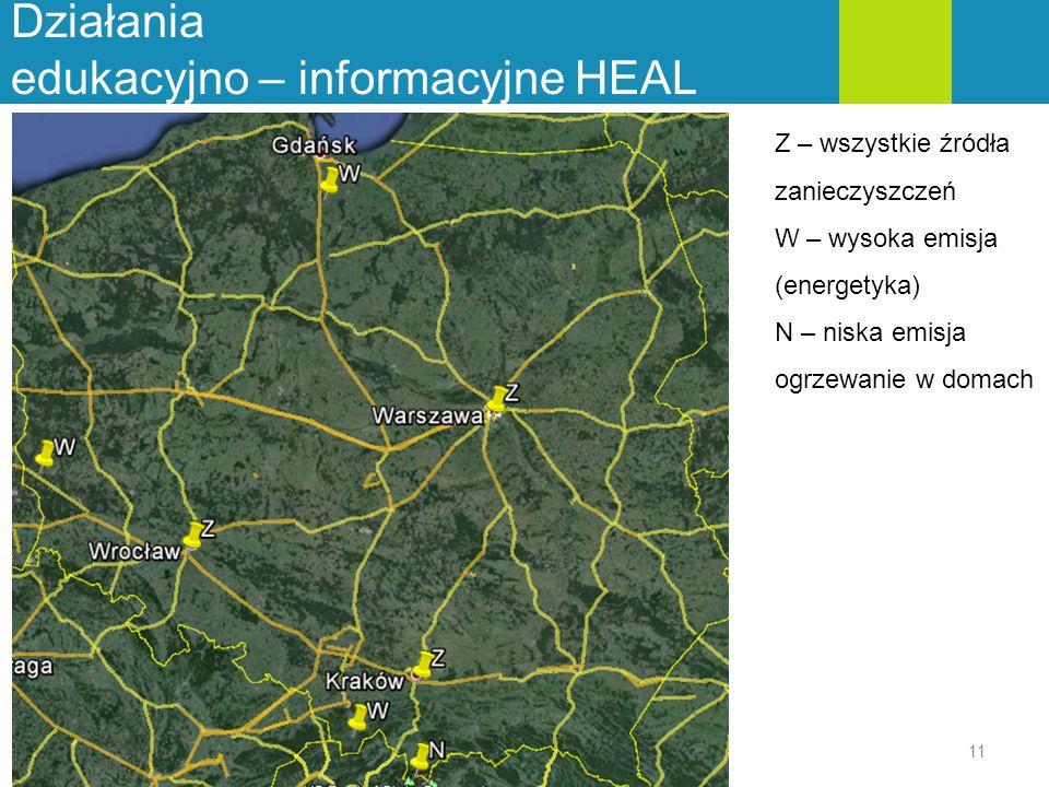 Działania edukacyjno – informacyjne HEAL 11 Z – wszystkie źródła zanieczyszczeń W – wysoka emisja (energetyka) N – niska emisja ogrzewanie w domach
