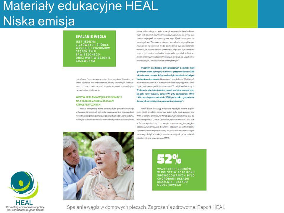 Materiały edukacyjne HEAL Niska emisja Spalanie węgla w domowych piecach. Zagrożenia zdrowotne. Raport HEAL