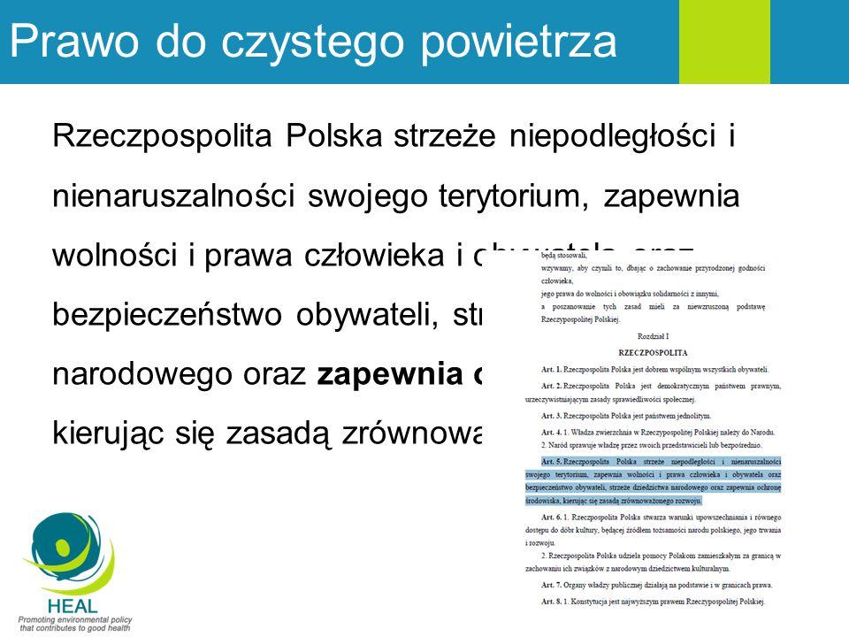 Prawo do czystego powietrza Rzeczpospolita Polska strzeże niepodległości i nienaruszalności swojego terytorium, zapewnia wolności i prawa człowieka i