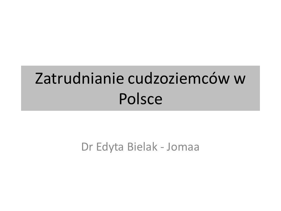 Zatrudnianie cudzoziemców w Polsce Dr Edyta Bielak - Jomaa