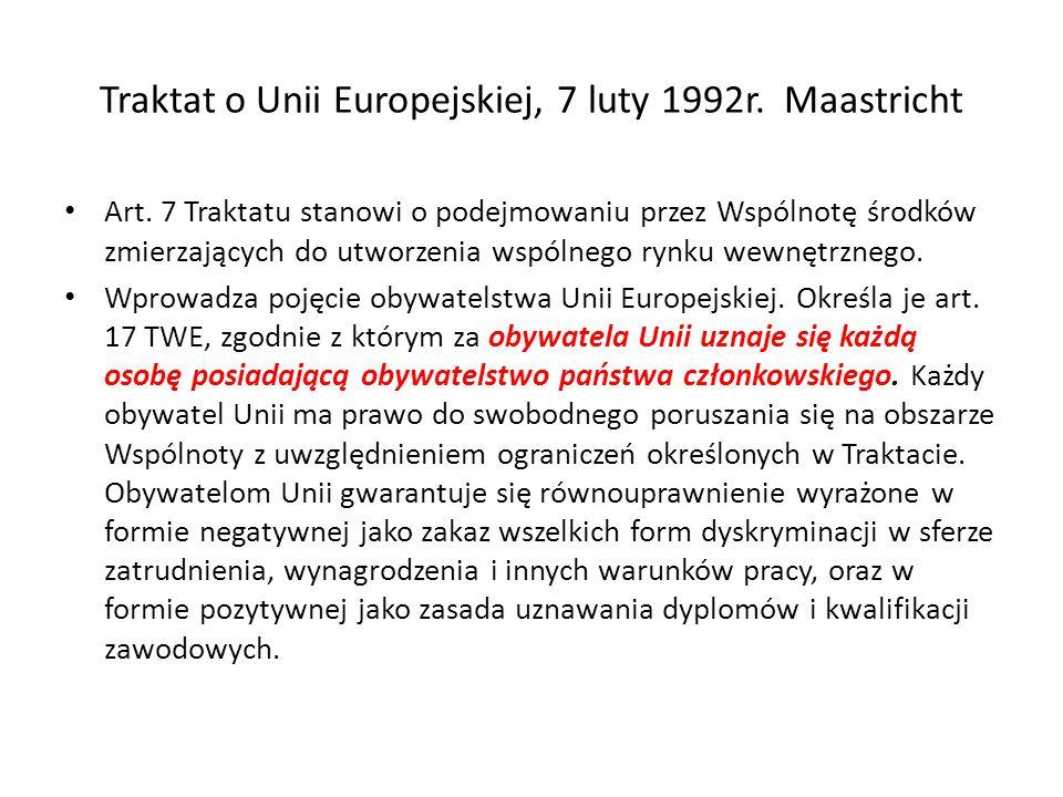 Traktat o Unii Europejskiej, 7 luty 1992r.Maastricht Art.